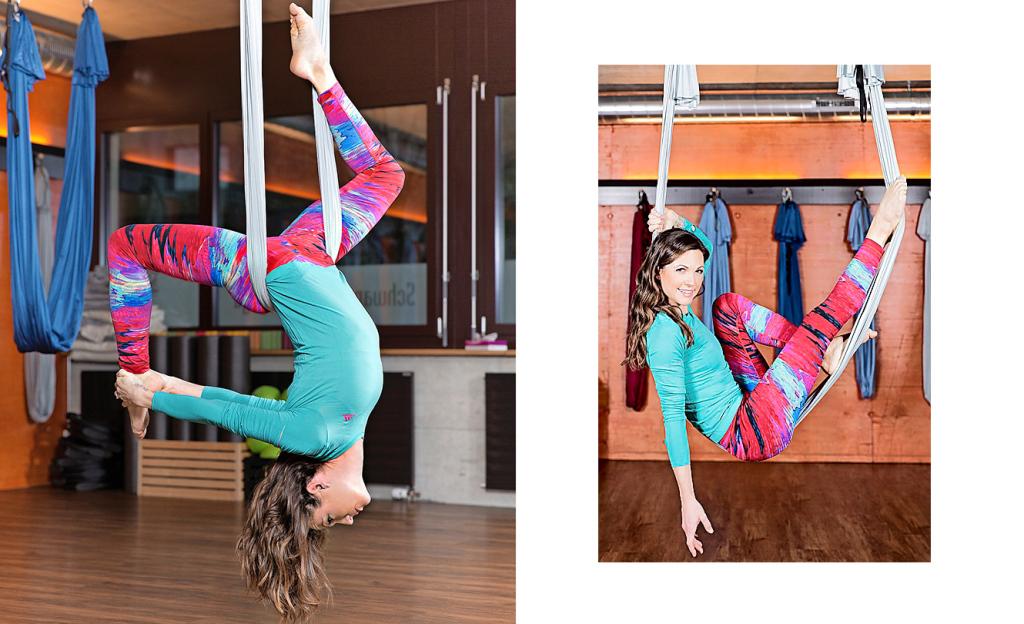 Viola Tami hat eine neue  Passion – das Aerial Yoga. Zweimal in der  Woche besucht sie Kurse im Yoga-Corner in Schlieren. Es ist ihr wichtig, sich fit zu halten.