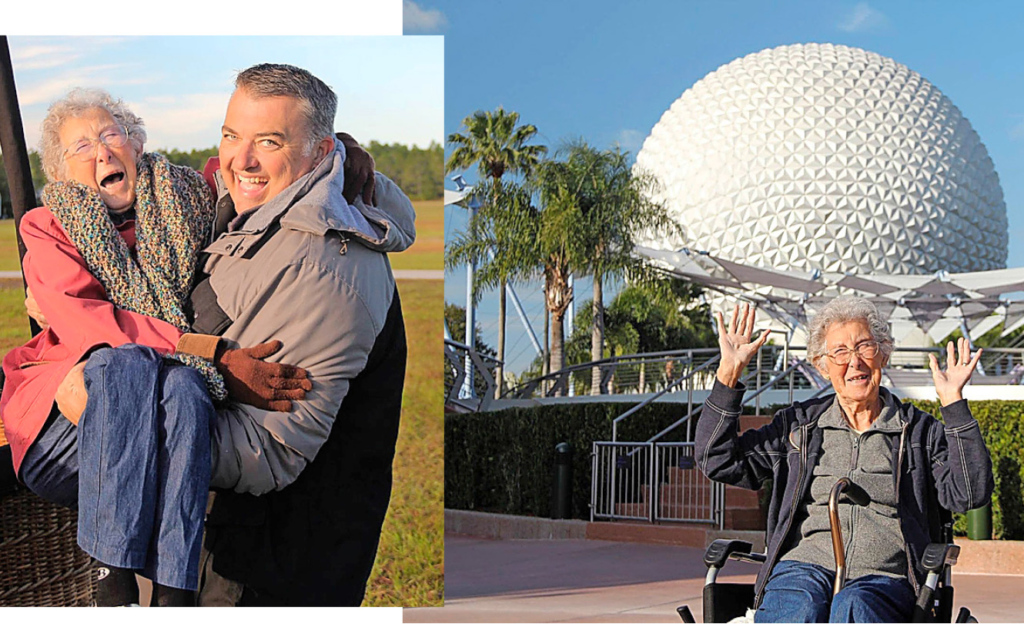 Links: Gleich geht die Fahrt los im Heissluftballon. Rechts: Die Rentnerin besuchte auch das Epcotcenter, ein Vergnügungspark im Walt Disney World Resort in Florida.