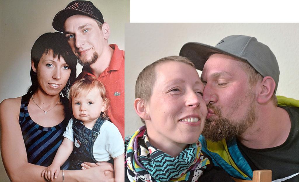 Links: Erinnerungen: Andrea glücklich – und gesund – mit Sebastian und Nele. Bild rechts:: Altenpfleger Sebastian liebt seine Frau über alles, und er hat ihr versprochen, dass er sich bis zuletzt um sie kümmern wird.