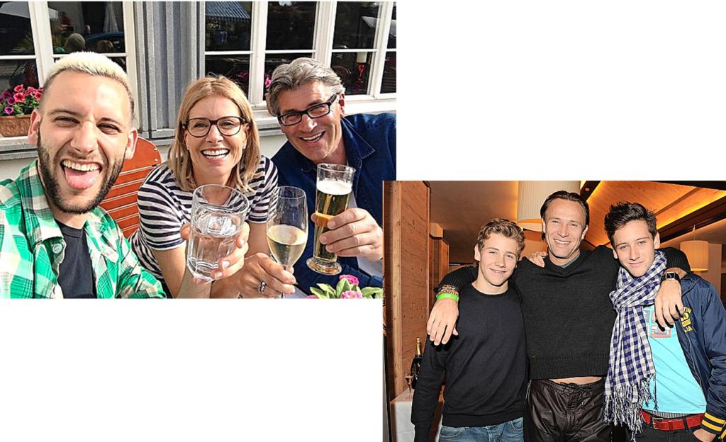 Tim mit Mutter Sabina Schneebeli und deren neuem Mann Paul Kurath (r.). Bild unten: Ein Foto aus älteren Tagen mit Bruder Luca (l.) und Vater Bernhard Bettermann.