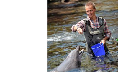 Hannes Jaenicke geht mit Delfinen auf Tuchfühlung.