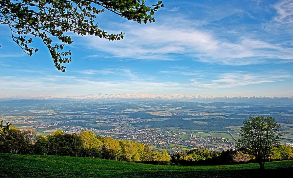 Herrlicher Panoramablick über das Mittelland bis weit in die Alpen.