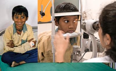 Ganesh blickt seiner Zukunft mit einem Lächeln entgegen. Rechts: Ganeshs Augen wurden in der Klinik untersucht.