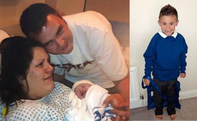 Die Eltern waren nach Archies Geburt überwältigt, Mama Samantha weinte. Rechts: Archie ist mittlerweile vier Jahre alt und ein kerngesunder Bub.