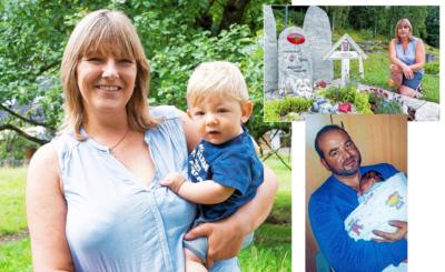 Ulrike Göb mit Sohn Linus (gr. Bild) und am Grab ihres Mannes und ihres Sohnes Lucas (rechts oben). Rechts: Papa Alexander starb an einem Schlaganfall.