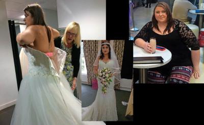 Das ursprüngliche Kleid war nach der Diät viel zu gross. Als sie noch dick war (ganz rechts), startete Alex Hill eine Diät und trank Proteinshakes. Sie nahm kräftig ab und konnte an ihrer Hochzeit ein figurbetontes Kleid tragen.