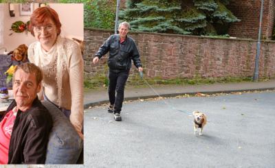 Dank den Spaziergängen mit dem Hund lernt Uwe neue Leute kennen. Links: Elke schaut jeden Tag bei Uwe nach dem Rechten.